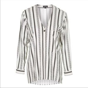 TopShop Black and White Striped Blouse